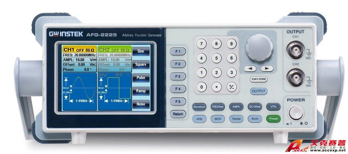 台湾固纬 AFG-2225 双通道DDS函数信号发生器内置标准波形:正弦波、方波、三角波、噪声波和任意波,,频率范围从0.1Hz~5/12/25MHz全数字合成信号,超高分辨率为0.1Hz。全数字操作设计与旋钮微调功能,是业内超高性价比的精品。配备PC任意波形编辑软件,可以通过USB Device接口,用于远程控制和波形编辑。  固纬 AFG-2225 双通道DDS函数信号发生器特点 (AFG-2125,AFG-2112,AFG-2105,AFG-2025,AFG-2012,AFG-2005) * 0.