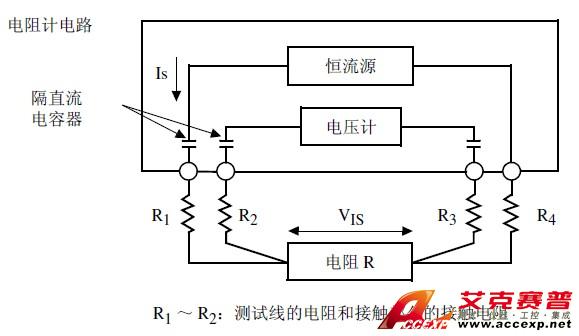 日本日置HIOKI 3561 电池测试仪采用交流四端子法,电阻测量要扣除导线电阻以及导线与测试物之间的接触电阻。下面说明交流四端子法的原理。  通过3561的SOURCE 端子向测试物输入交流电流IS。在SENSE 端子上测量因测试物的阻抗产生的电压降VIS。此时,由于SENSE 端子连接在内部高阻抗电压计上,因此导线电阻和接触电阻R2、R3 上几乎没有电流流过。因此,电阻R2、R3 基本没有电压降。这样,就消除了导线和接触电阻的电压降,使其可以忽略不计。根据同步检波法,3561将测试物的阻抗划分为有效电